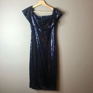 Fashion nova blue sequin dress off shoulder midi